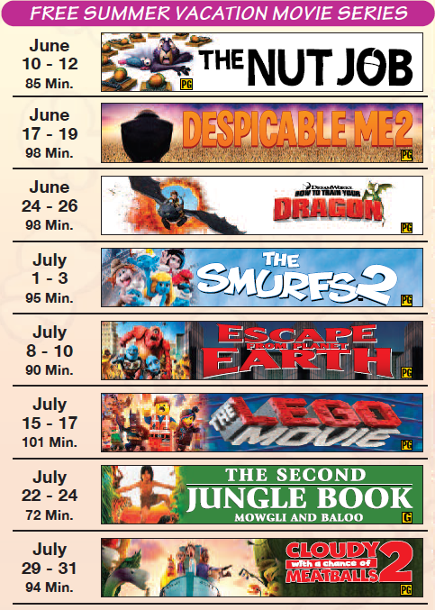Free Summer Movies at Dickinson Theaters (2014)