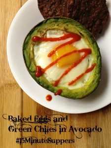 Baked Eggs and Green Chiles in Avocado