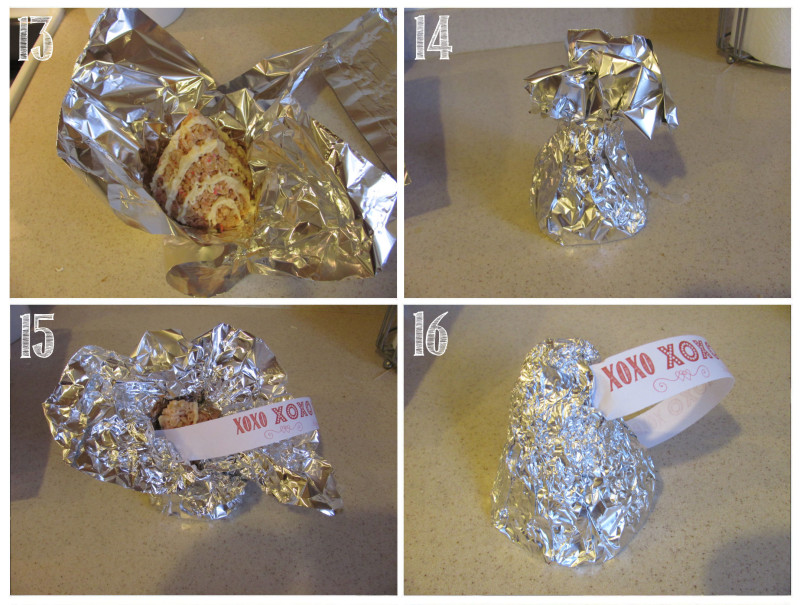 "Wrap each ""kiss"" in foil and add a tag to finish it off."