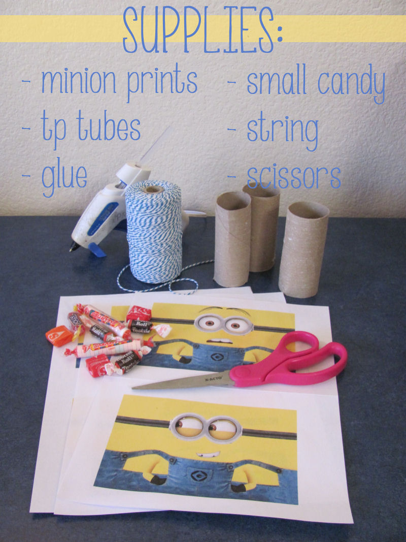 Supplies needed to make mini minion pinatas