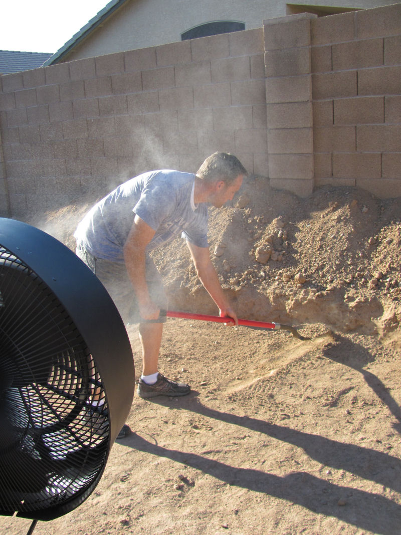 The NewAir AF-520B Outdoor Misting Fan makes outdoor projects bearable in the Arizona heat.
